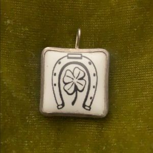 Enamel Horseshoe & Clover Good Luck Pendant